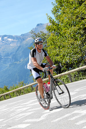 Cycling up alpe d huez